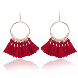NWT • Red tassel earrings